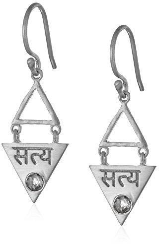 Satya Jewelry'Triangle' Silver White Topaz Satya Sanskrit Drop Earrings