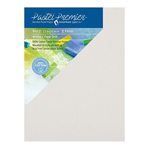 Pastel Premier Sanded Pastel Paper Conservation Panel, Fine Grit, 9X12 inches, White, 1 Package of 2 Panels