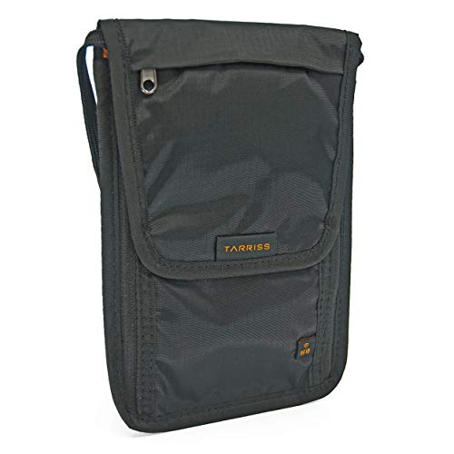 Tarriss Anti-theft Neck Wallet with RFID - Great for Vaccine Cards and Passports, Boarding Pass, Cards, Money and more
