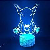 Buldog Lámpara 3D Luz Nocturna 3D Para Niños Ilusión Óptica Lámpara De Mesa Led Botón Táctil Con Interruptor tactil 7 Cambio De Color
