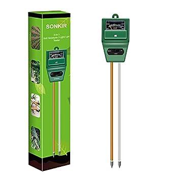 SONKIR Soil pH Meter MS02 3-in-1 Soil Moisture/Light/pH Tester Gardening Tool Kits for Plant Care Great for Garden Lawn Farm Indoor & Outdoor Use  Green