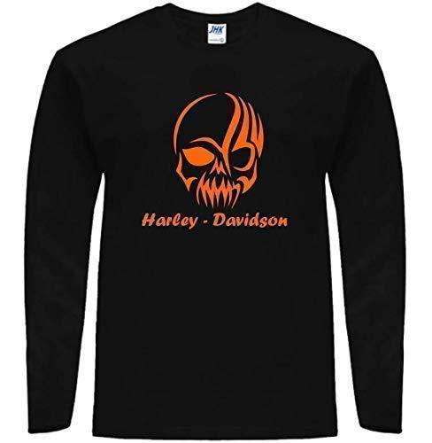 Maglietta T-Shirt manica lunga Striped Skull Harley Davidson Inspired