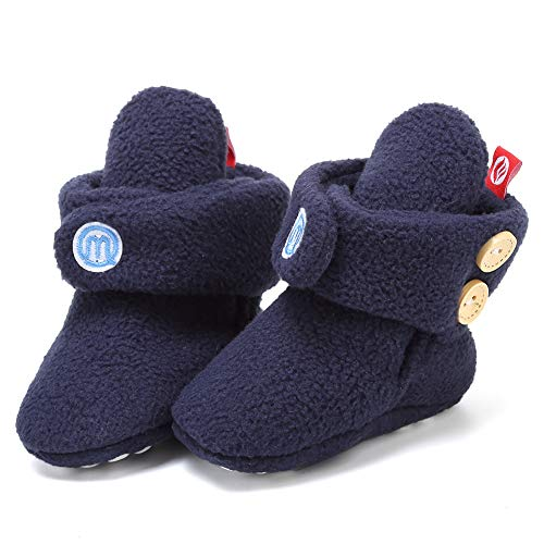 Ohwawadi Infant Baby Boys Girls Boots Cozy Fleece Booties Slippers Winter Crib Shoes for Newborn Toddlers