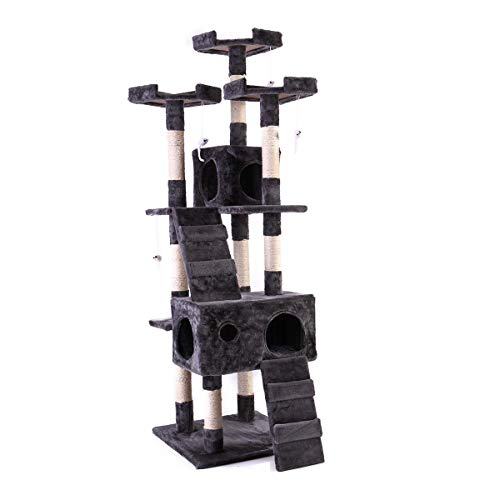 "Tobbi 67"" Cat Tree Tower Condo Play House Pet Scratch Post Kitten Furniture Grey"