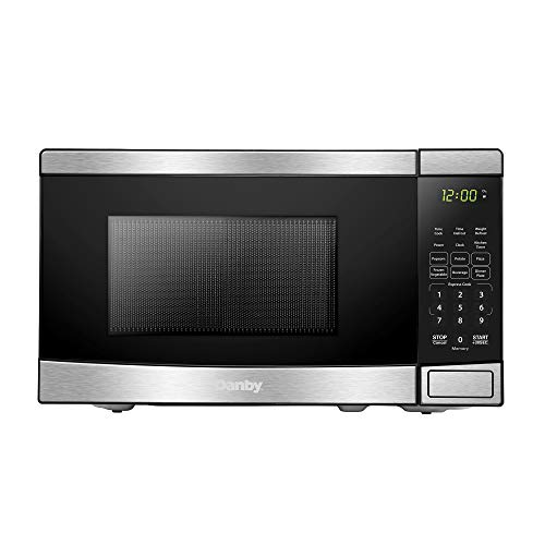 Danby DBMW0721BBS 700 Watts 0.7 Cu.Ft. Countertop Microwave with Push Button Door| 10 Power Levels, 6 Cooking Programs | Auto Defrost and Child Lock, Stainless Steel