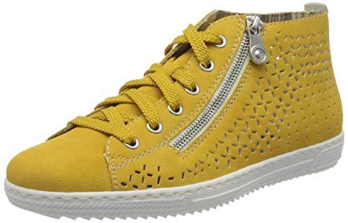 Rieker Damen Frühjahr/Sommer L9416 Slip On Sneaker, Gelb (Gelb/Fog-Silver/ 68 68), 41 EU