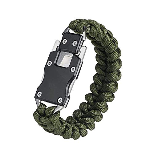 WEREWOLVES Paracord Armband, EDC Survival Armband,Edelstahl Verschluss mit Messer - 5 in 1 Survival Gear Kitmit für Camping Survival/Wandern/Outdoor Adventure (Armeegrün Tarnung)