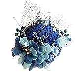 Lazder Tocados coreanos hechos a mano para boda, tocados de novia, sombrero vintage, malla artificial, azul, beige, flores, pinzas para el pelo, accesorios para fotos (azul real)
