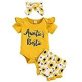 GRNSHTS Baby Girls Sunflower Shorts Set Fly Sleeve Ruffled Romper + Sunflower Diaper Shorts Summer Outfits(Yellow,12-18M)