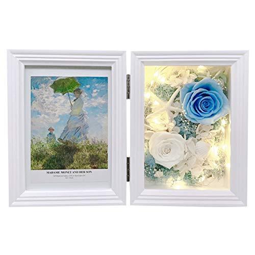 MINCHEDA Marco de Fotos con Luz 13x18 cm, Rosa Encantada de Decoración de para el Hogar/Oficina, Regalo para Día Especial