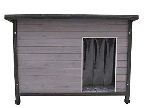 SAUERLAND Holz-Hundehütte mit Flachdach, grau lasiert, inkl. Pendelklappe