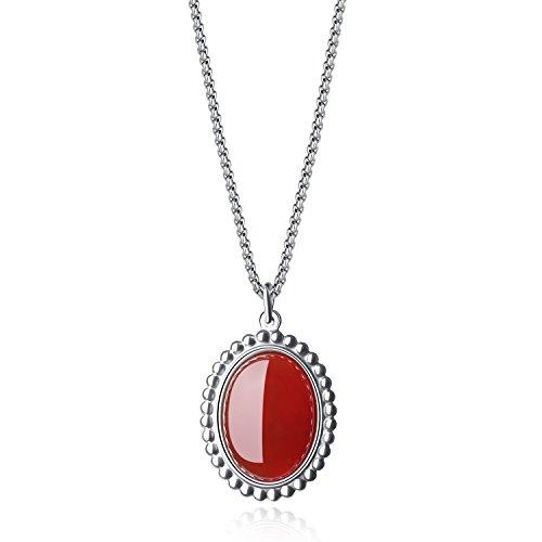 COAI Collar con Colgante Vintaje de Ágata Roja Oval para Mujer