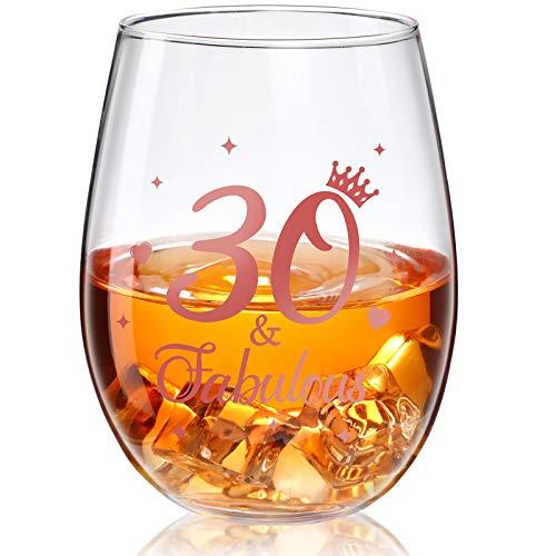 Stammlos Weinglas Roségold Geburtstag Weinglas Geschenk Jubiläum Gläser für Mann Frauen Geburtstag Party Hochzeit Jahrestag Dekorationen, 17 Unzen (30 and Fabulous)