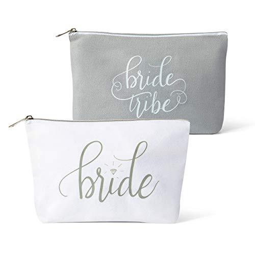 Canvas Makeup Bags for Bachelorette Parties, Weddings and Bridal Showers! (11 Piece Set, Grey