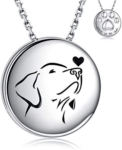 Pet Cremation Necklace for Dog 925 Sterling Silver Always in My Heart Paw Print Memorial Keepsake product image