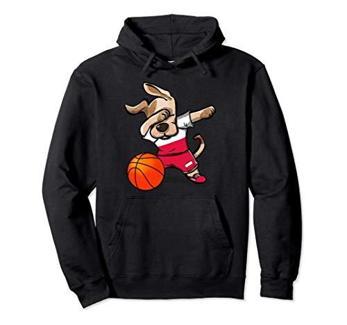 Funny Dabbing Dog Basketball かわいい犬ポーランドバスケットボールポーランド国旗スポーツ パーカー