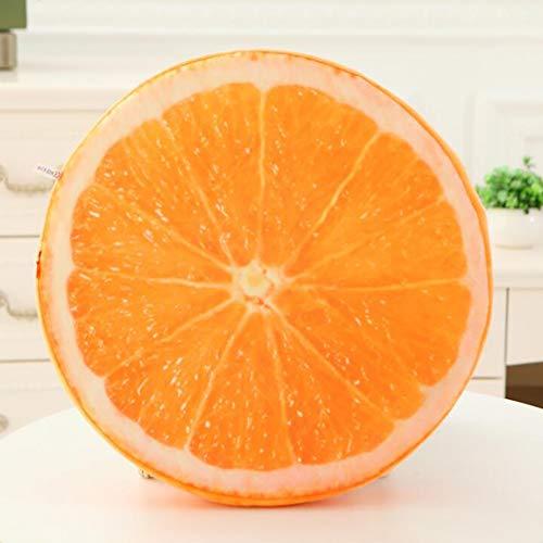 ZZFF Cojín De Asiento De Fruta 3D Creativo,Redondo Esponja Suave Cojín De Asiento,Ligero Portátil Cómodo Espuma Cojín De Espalda Sofá Almohada Naranja Diámetro40cm(16inch)