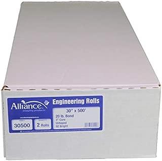 "Alliance Paper Rolls, Bond Engineering, 30"" x 500', 92 Bright, 20lb - 2 Rolls Per Carton with 3"" Core"