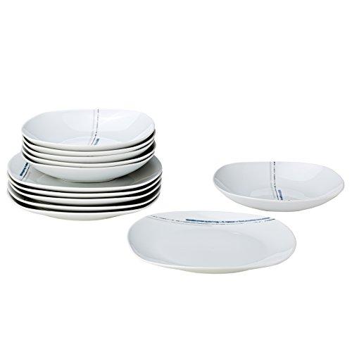 Wellco Design Laredo Blue 12tlg. Service de Table en Porcelaine Blanc Décor Bleu 27 x 27 x 19 cm
