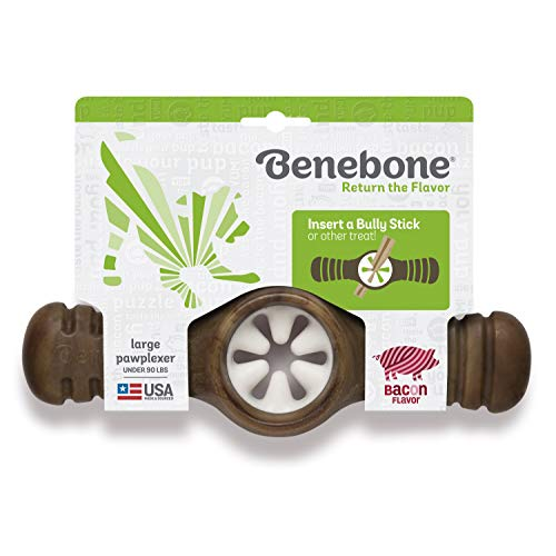 Benebone Pawplexer Interactive Treat Dispensing Tough Dog Puzzle Chew Toy, Made in USA, Large, Real Bacon Flavor