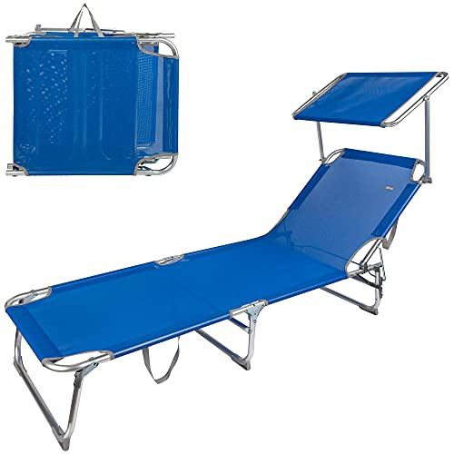 Aktive 62612 - Tumbona plegable de playa, Tumbona con parasol, color azul, mide 188 x 58 x 65 cm, altura del asiento 26 cm, respaldo reclinable, 3 posiciones, 110 kg máx, Aktive Beach