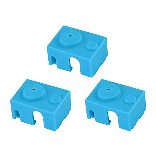 3D Printer Silicone Sock, Heater Block Cover, V6 PT100 Hotend Insulation, Blue, 3 Pack.