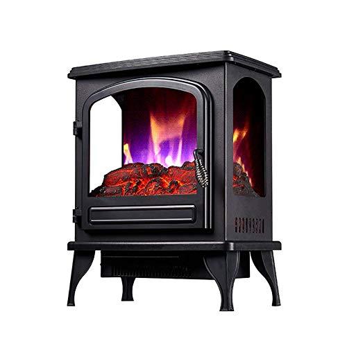GHDE& Panorama Elektrische fornuisverwarming, 2000 W open haard met LED houtvlammeneffect, instelbare thermostaat, vrijstaand en draagbaar, met bescherming tegen oververhitting, ideaal voor woonkamer, zwart