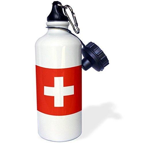 Cukudy Sport Waterfles Cadeau voor Kids Meisje Jongen, Vlag Van Zwitserland Zwitserse Rood En Wit Kruis Europa Europees Land Wereld Reizen Souvenir RVS Waterfles voor School Office Reizen 21oz