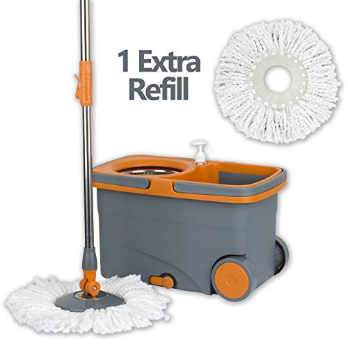 Casabella Spin Cycle Mop with Bucket - Graphite/Orange by Casabella