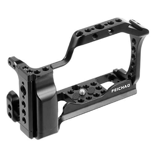 FEICHAO Jaula de cámara CNC compatible con A6500 / A6400 / EOS M50 M5 / XT-2 XT3 caja de montaje de placa de liberación rápida para montaje en zapata fría (jaula de cámara A)