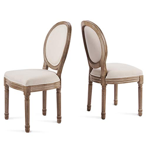 VONLUCE Upholstered Fabric Dining Chair Set with Round Backs and Rubberwood Legs, 2pc Plush Vintage French Accent Chairs for Bedroom Living Room More, Comfy Modern Louis XVI Vanity Chairs, Set of 2 (Make Upholstered Chair)