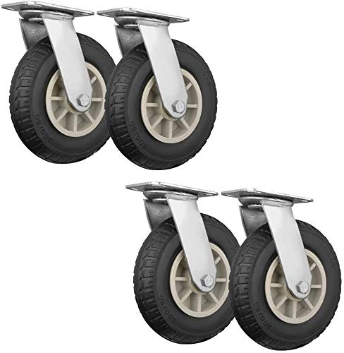 Castors Wheels,5/6/8' Casters, Swivel Industrial Castors Wheels, Rubber Mute With Brake Furniture Casters, Trolley (Color : 8in(200mm))