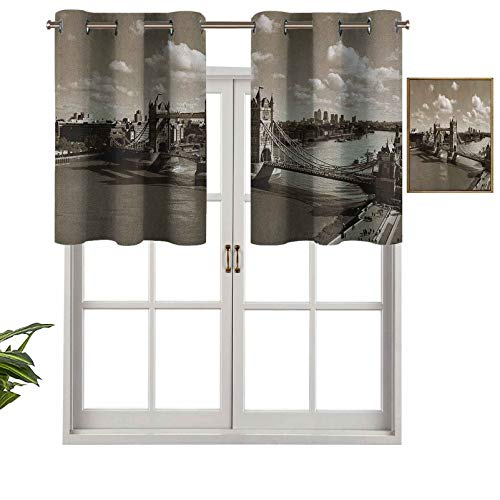 Small Window Valance Curtains Home Decor Tower Bridge in London City Cloudy Sky Old Historic Cityscape Nostalgia England, Set of 1, 52'x18' for Kitchen Dining Girls Room Light Filtering