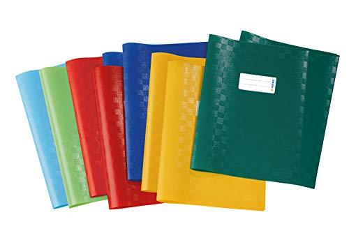 HERMA 19997 Heftumschläge DIN A4 Bast, Hefthüllen mit Beschriftungsetikett und Baststruktur, aus strapazierfähiger und abwischbarer Polypropylen-Folie, 10er Set Heftschoner für Schulhefte, bunt