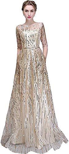 el Vestido de Noche Del Banquete Vestido de Fiesta Formal de Media Manga Elegante Simple Vestido Reflectante-As_Shown_6, LIFU