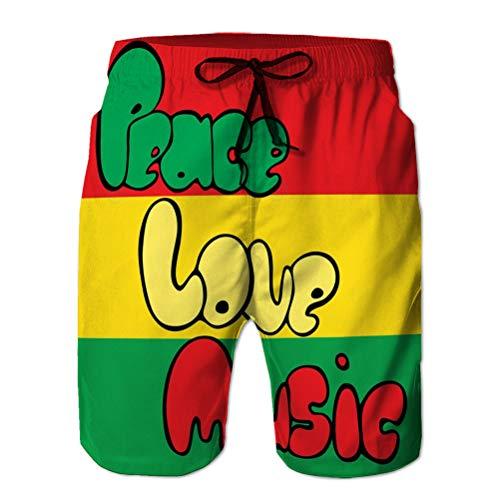 jiilwkie Boardshorts Troncos de baño de Secado rápido para Hombre Pantalones Cortos de Playa diseño Paz Amor música Estilo Burbuja Verde Amarillo Rojo Colores Elements M