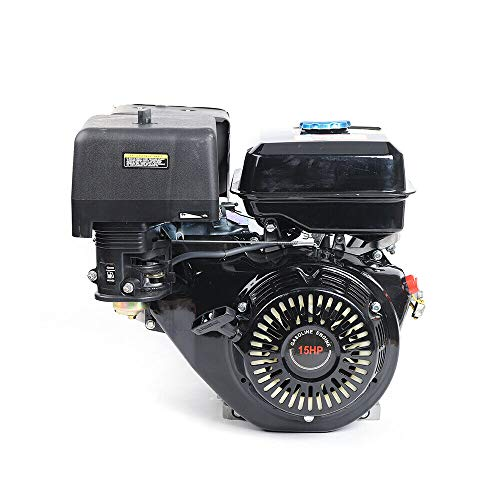 Gas Engine Motor 15HP 420CC 4 Stroke OHV Single Cylinder Horizontal Gasoline Petrol Engine Go Kart Motor Manual Recoil Starter 9KW 3600RPM 190F Air Cooling Garden Tiller Cultivator Motor (Black)