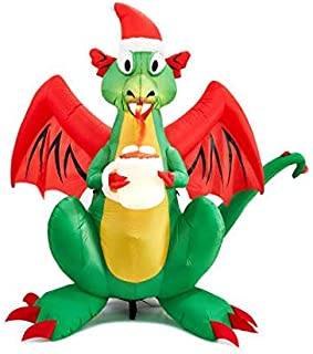 Gemmy 6 Foot Tall - Airblown Inflatable Animated LED Fire Breathing Christmas Dragon with Santa Hat and Cup of Hot Chocolate