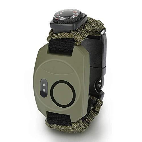 Hasey Juego de pulsera de supervivencia para hombre y mujer, 8 en 1, pulsera de supervivencia con pedernal + brújula + termómetro + alarma + cuchillo + silbato + cuerda de sombrilla + lámpara LED