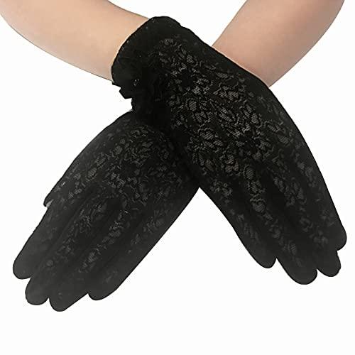 KADBLE Guantes florales de encaje de las señoras elegantes guantes cortos de encaje para bodas fiestas de ópera - negro - Talla única