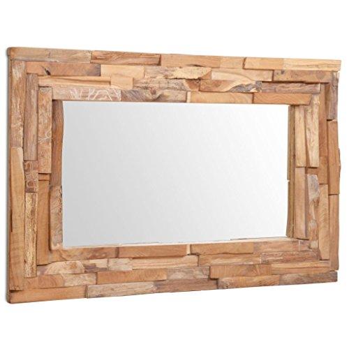 vidaXL Teak Dekorativer Spiegel Handgefertigt mit 4 Aufhängehaken Holzspiegel Wandspiegel Flurspiegel Dekospiegel Hängespiegel 90x60cm