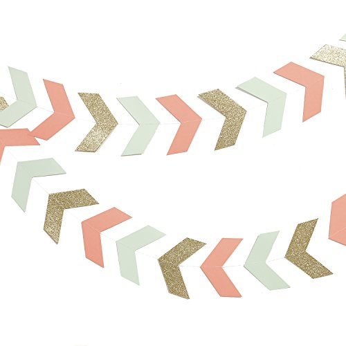 Ling's moment 10 Feet Tribal Banner, Paper Arrow Bunting Garland Decoration for Baby Nursery, Boho Wedding, Bridal Shower, Birthday, Event & Party Supplies, 42 pcs-(Gold+Mint+Coral)