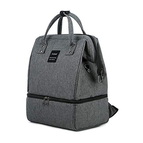 Mywillon - Mochila cambiador 2 en 1 para bebé y mamá – Duo sacaleches y bolsa isotérmica para comidas – Bolsa de picnic refrigeradora con puerto de carga USB (gris)