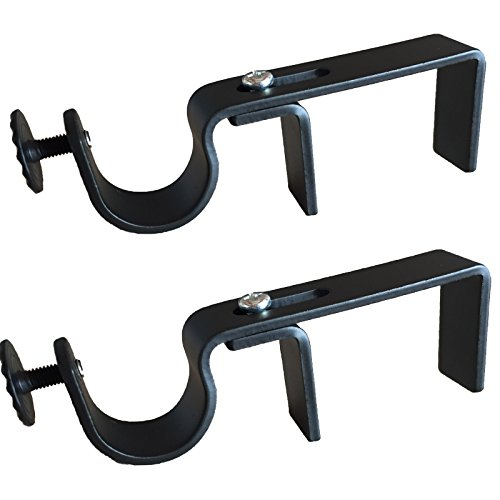 NoNo Bracket - Outside Mounted Blinds Curtain Rod Bracket Attachment (Black)