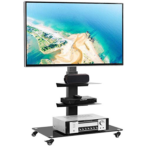 Rfiver Rolling Floor TV Stand with Swivel Mount for 32-65 Inch Flat Screen/Curved TVs, 3-Shelf Heavy Duty Portable Mobile TV Cart with Wheels, Black Universal Tall TV Mount Trolley for Home and Office
