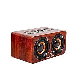 Live Tech Mini Jalsa Wireless TWS Wooden Speaker with Powerful Sound & Bass   10W with 1200 mAh Bluetooth Speaker (Mini Jalsa - Nut Brown),LIVE TECH,LT-MINI JALSA-NUT BROWN