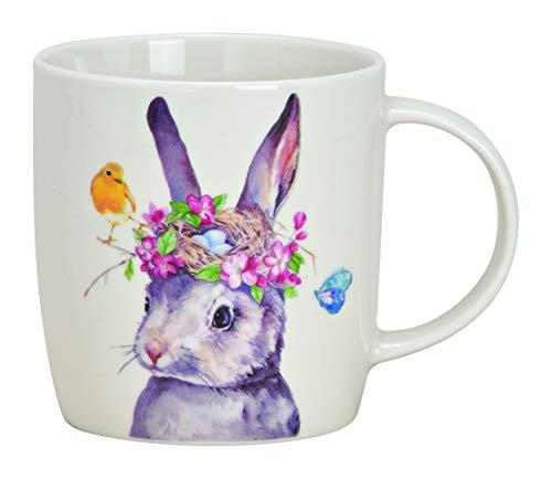 350ml KAFFEETASSE Hase PORZELLAN weiss 12x9x8cm Tasse Kaffeebecher Ostern Häschen Osterhase Blumen Frühling Osterdeko Teetasse