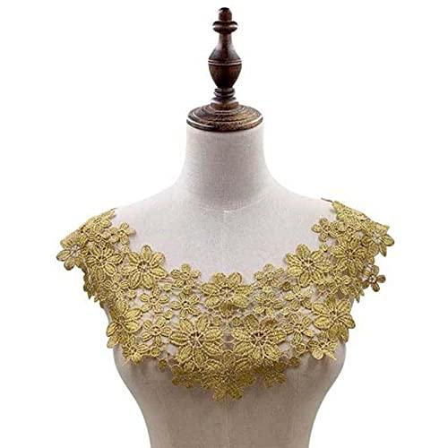 Apliques de escote bordado de cuello de encaje blanco para decoración de boda nupcial tela de encaje DIY costura Su Accesorios 18 colores-dorado