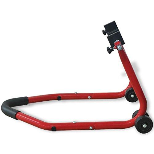 vidaXL Caballete Modelo Trasero para Moto Color Rojo Material Acero con Acabado Pintado