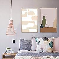 キャンバス絵画漫画かわいいイラストポスター抽象的なパターン花瓶階段壁の写真家のモダンな装飾(30x50cm)2pcsフレームレス